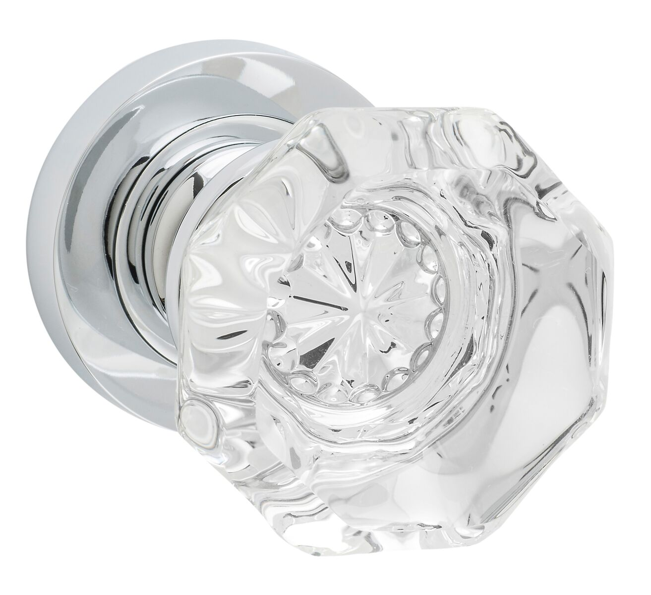 Glass Knob on Chrome Rose