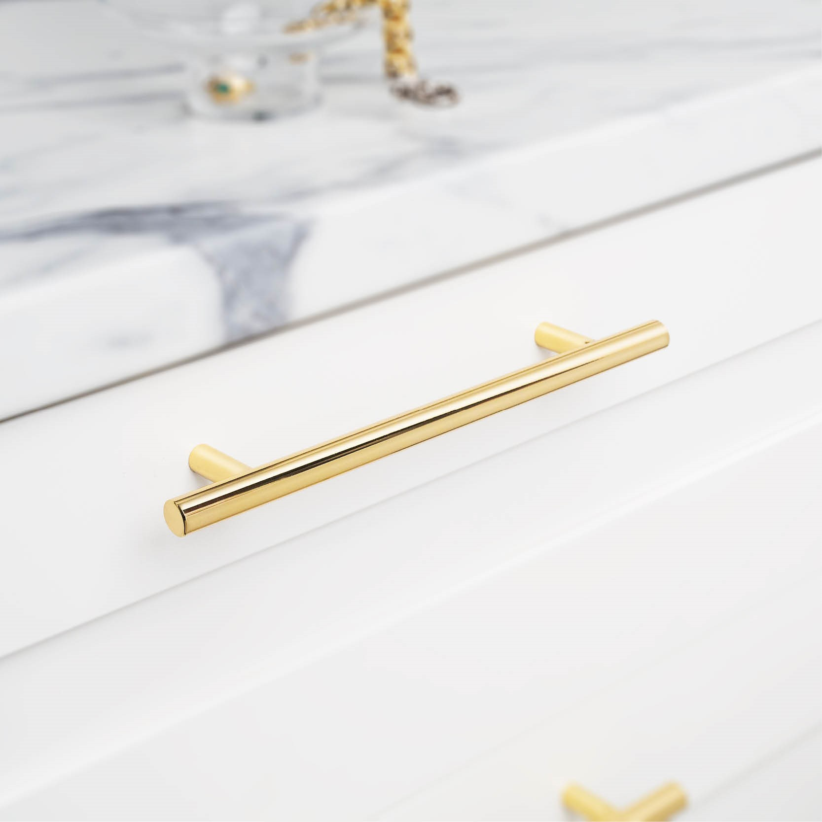 Polished Brass Cabinet Handle T-Bar