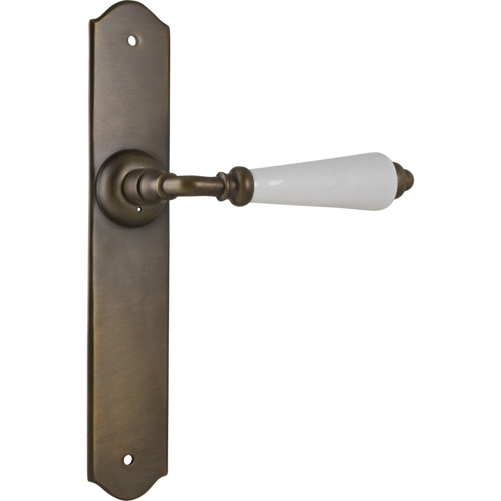 Porcelain Lever on Antique Brass Long Back Plate